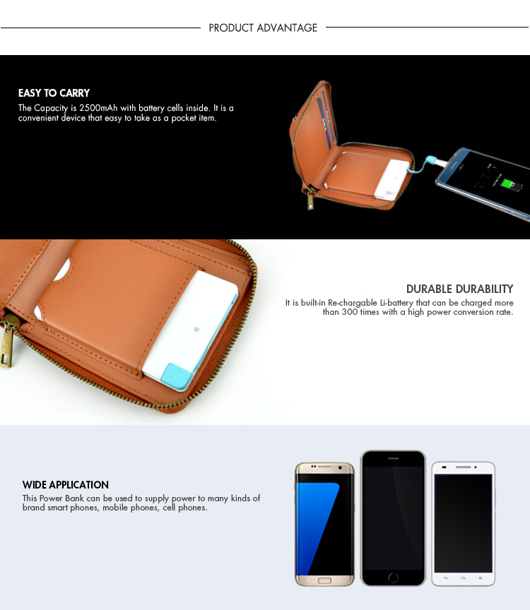 smart wired power bank wallet