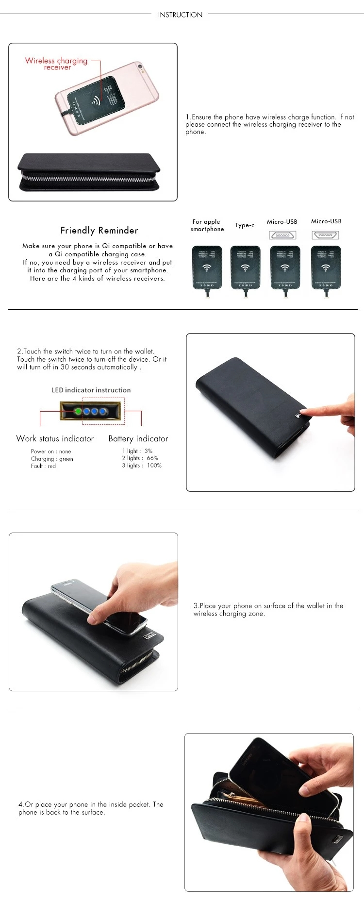 how to use wireless charging wallet